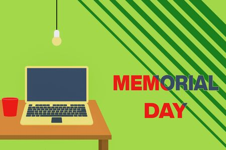 Text sign showing Memorial Day. Business photo showcasing remembering the military demonstratingnel who died in service Front view open laptop lying on wooden desktop light bulb falling glass