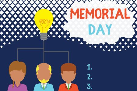 Conceptual hand writing showing Memorial Day. Concept meaning remembering the military demonstratingnel who died in service Three executive persons sharing idea Startup team meeting Imagens