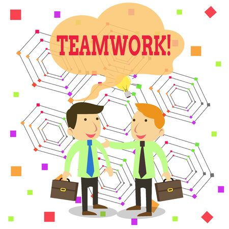 Writing note showing Teamwork. Business concept for combined action of group especially when effective and efficient Two White Businessmen Colleagues with Brief Cases Sharing Idea Solution