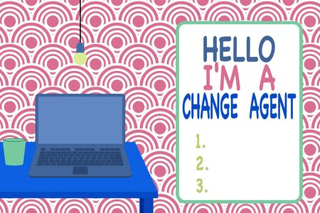 Conceptual hand writing showing Hello I M A Change Agent. Concept meaning Promoting and enabling difference evolution new Front view laptop lying on wooden desktop light bulb glass