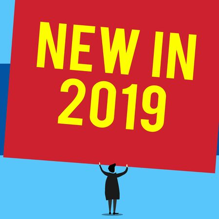 Writing note showing New In 2019. Business concept for what will be expecting or new creation for the year 2019 Short hair woman standing dress hands up holding blank rectangle