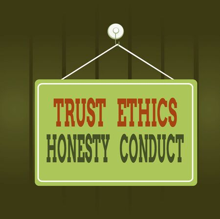 Writing note showing Trust Ethics Honesty Conduct. Business concept for connotes positive and virtuous attributes Memo reminder empty board attached background rectangle Banco de Imagens