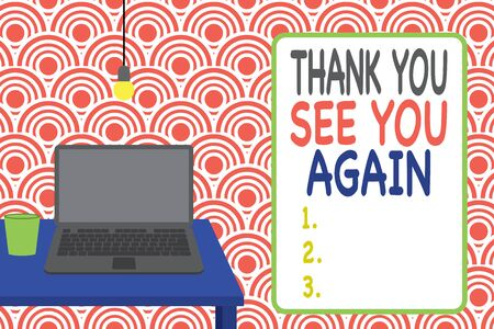 Conceptual hand writing showing Thank You See You Again. Concept meaning Appreciation Gratitude Thanks I will be back soon Front view laptop lying on wooden desktop light bulb glass Stock fotó