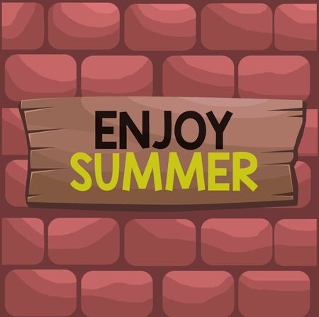 Handwriting text Enjoy Summer. Conceptual photo taking a break from school and spending holidays in the beach Plank wooden board blank rectangle shaped wood attached color background Stockfoto