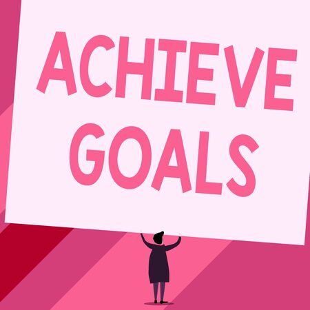 Conceptual hand writing showing Achieve Goals. Concept meaning Results oriented Reach Target Effective Planning Succeed Short hair woman dress hands up holding blank rectangle