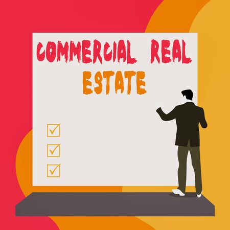 Conceptual hand writing showing Commercial Real Estate. Concept meaning Income Property Building or Land for Business Purpose Back view young woman watching blank big rectangle