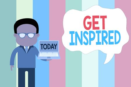 Text sign showing Get Inspired. Business photo showcasing make someone have a particular strong feeling or reaction Standing man in suit wearing eyeglasses holding open laptop photo Art
