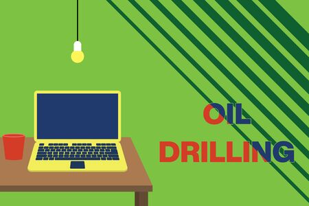 Text sign showing Oil Drilling. Business photo showcasing involves the drilling and pumping of oil from underground wells Front view open laptop lying on wooden desktop light bulb falling glass Banque d'images
