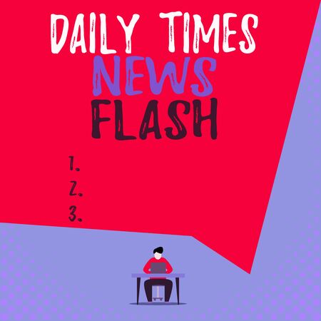 Text sign showing Daily Times News Flash. Business photo showcasing fast response to actions happened in article way View young man sitting chair desk working open laptop geometric background
