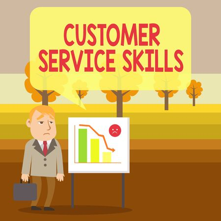 Conceptual hand writing showing Customer Service Skills. Concept meaning Aptitude to master to improve dealings with client Businessman with Brief Case Standing Whiteboard Bar Chart Imagens