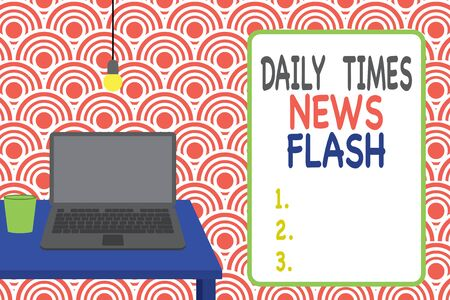 Conceptual hand writing showing Daily Times News Flash. Concept meaning fast response to actions happened in article way Front view laptop lying on wooden desktop light bulb glass Stock fotó