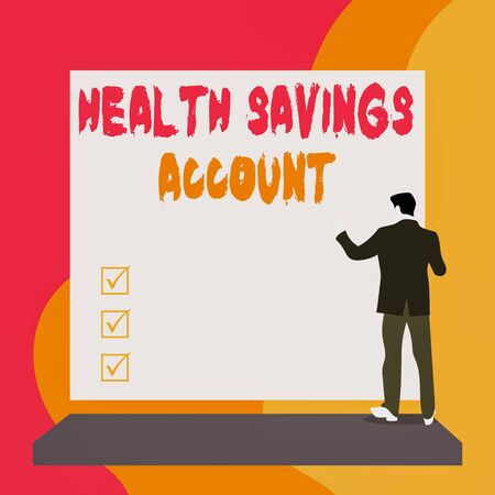 Conceptual hand writing showing Health Savings Account. Concept meaning users with High Deductible Health Insurance Policy Back view young woman watching blank big rectangle