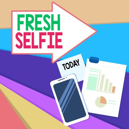Handwriting text writing Fresh Selfie. Conceptual photo take a picture of yourself with no makeup filter or edit Layout Smartphone Off Sticky Notes Clipboard with Pie Chart and Bar Graph Stock fotó