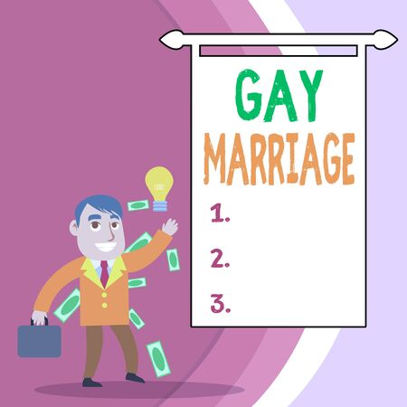 Handwriting text Gay Marriage. Conceptual photo entered into in a civil or religious ceremony of the same sex Successful Businessman or Clerk Generating Good Idea or Finding Solution