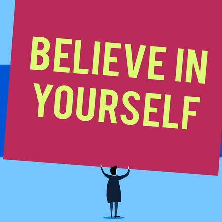 Writing note showing Believe In Yourself. Business concept for common piece of advice that you can do everything Short hair woman standing dress hands up holding blank rectangle