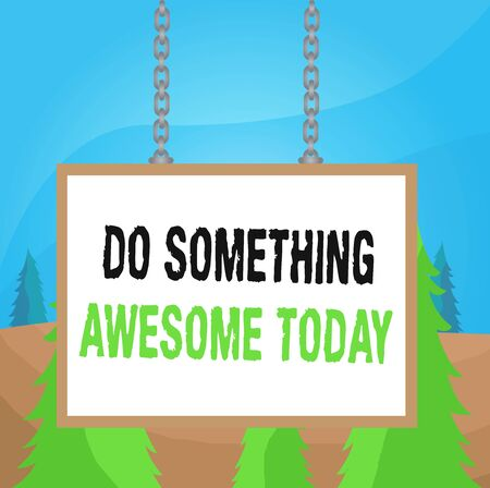Word writing text Do Something Awesome Today. Business photo showcasing Make an incredible action motivate yourself Whiteboard rectangle frame empty space attached surface chain blank panel Фото со стока