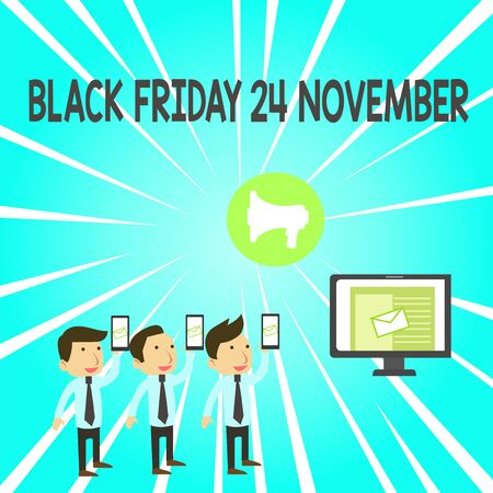 Handwriting text Black Friday 24 November. Conceptual photo Special sales Thanksgiving discounts Clearance SMS Email Marketing Media Audience Attraction Personal Computer Loudspeaker