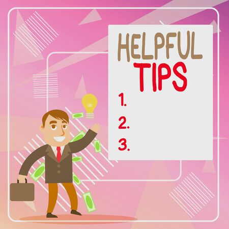 Word writing text Helpful Tips. Business photo showcasing secret information or advice given to be helpful knowledge Successful Businessman or Clerk Generating Good Idea or Finding Solution