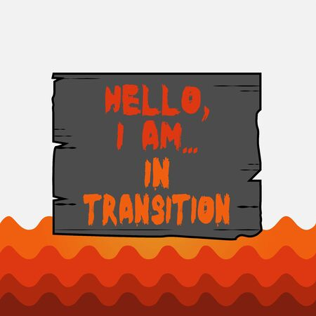Conceptual hand writing showing Hello I Am In Transition. Concept meaning Changing process Progressing planning new things Wooden plank slots grooves wood panel colored board lumber