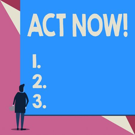 Handwriting text Act Now. Conceptual photo fulfil the function or serve the purpose of Take action Do something Back view young woman watching blank big rectangle. Geometrical background