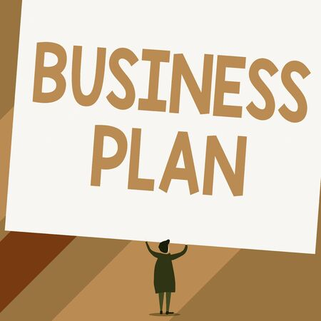 Conceptual hand writing showing Business Plan. Concept meaning Structural Strategy Goals and Objectives Financial Projections Short hair woman dress hands up holding blank rectangle