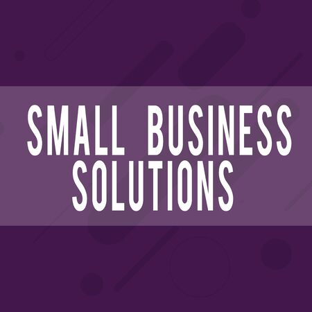 Handwriting text writing Small Business Solutions. Conceptual photo a Company to solve Specific Trade problems Oblong Geometric Shape Angle Pattern in Different Sizes in Violet Monochrome