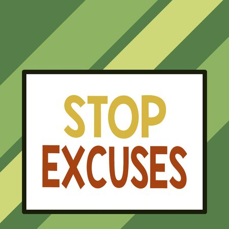 Text sign showing Stop Excuses. Business photo text put an end to an explanation for something that went wrong Front close up view big blank rectangle abstract geometrical background 写真素材