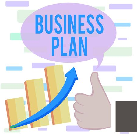 Writing note showing Business Plan. Business concept for Structural Strategy Goals and Objectives Financial Projections Thumb Up Good Performance Success Escalating Bar Graph Ascending Arrow Banco de Imagens