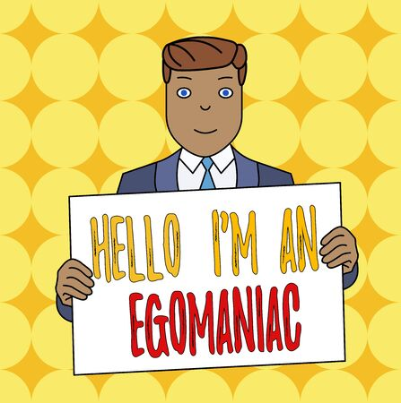 Conceptual hand writing showing Hello I M An Egoanalysisiac. Concept meaning Selfish Egocentric Narcissist Selfcentered Ego Smiling Man Holding Suit Poster Board in Front of Himself 写真素材