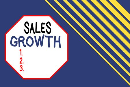 Word writing text Sales Growth. Business photo showcasing ability to increase revenue over a fixed period of time Seamless rectangle background pattern diagonal stripes upper right side Banco de Imagens