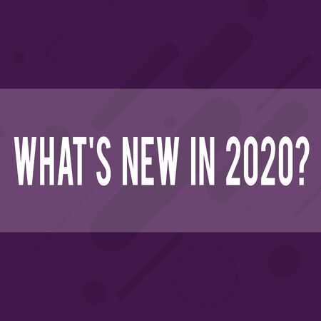 Handwriting text writing What S New In 2020 Question. Conceptual photo Expectation and Surprises for the coming Year Oblong Geometric Shape Angle Pattern in Different Sizes in Violet Monochrome