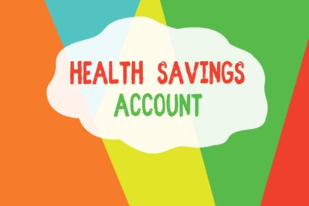 Conceptual hand writing showing Health Savings Account. Concept meaning users with High Deductible Health Insurance Policy Geometric Background Triangles for Business Presentations Web