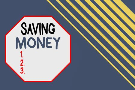 Word writing text Saving Money. Business photo showcasing putting money in an account in a bank o financial organization Seamless rectangle background pattern diagonal stripes upper right side