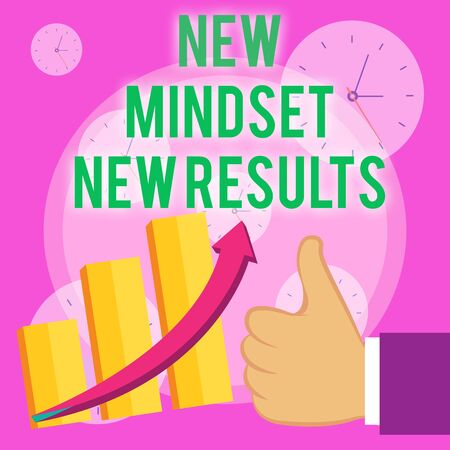 Writing note showing New Mindset New Results. Business concept for Open to Opportunities No Limits Think Bigger Thumb Up Good Performance Success Escalating Bar Graph Ascending Arrow