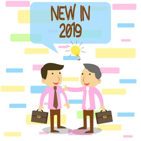 Writing note showing New In 2019. Business concept for what will be expecting or new creation for the year 2019 Two White Businessmen Colleagues with Brief Cases Sharing Idea Solution 版權商用圖片