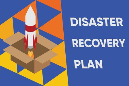 Text sign showing Disaster Recovery Plan. Business photo text having backup measures against dangerous situation Fire launching rocket carton box. Starting up project. Fuel inspiration Stock Photo