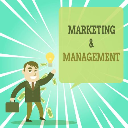 Text sign showing Marketing And Management. Business photo text process of developing strategies for product Successful Businessman or Clerk Generating Good Idea or Finding Solution Banco de Imagens - 131333944