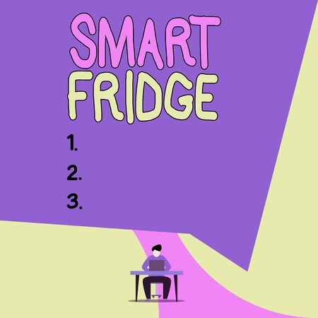 Conceptual hand writing showing Smart Fridge. Concept meaning programmed to sense what kinds of products being stored inside View young man sitting chair desk working open laptop