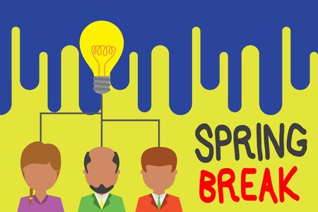 Text sign showing Spring Break. Business photo text week s is vacation for students in the spring typically at Easter Group three executive persons sharing idea icon. Startup team meeting