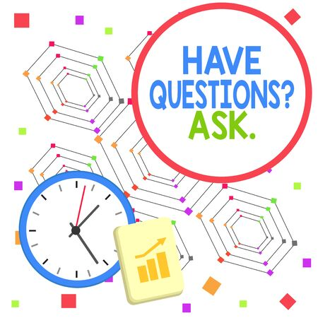 Handwriting text Have Questions Question Ask. Conceptual photo asking someone respond you with feedback Layout Wall Clock Notepad with Escalating Bar Graph and Arrow Pointing Up