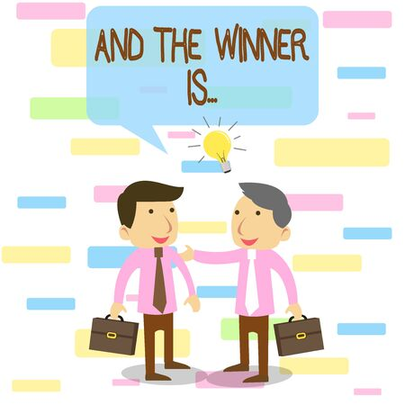 Writing note showing And The Winner Is. Business concept for announcing a demonstrating or thing that wins something Two White Businessmen Colleagues with Brief Cases Sharing Idea Solution
