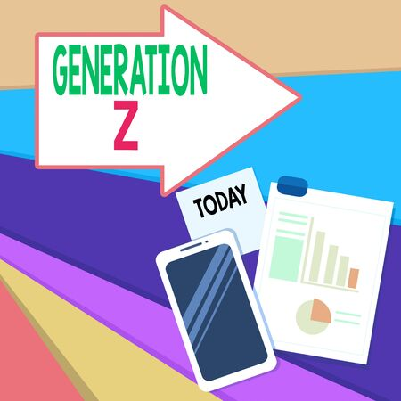 Handwriting text writing Generation Z. Conceptual photo name for the generation of children after the millennials Layout Smartphone Off Sticky Notes Clipboard with Pie Chart and Bar Graph