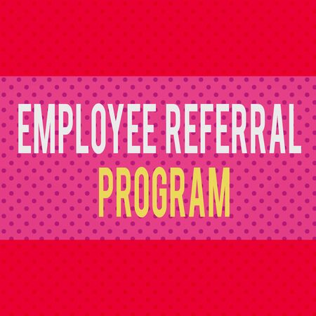 Word writing text Employee Referral Program. Business photo showcasing employees recommend qualified friends relatives Seamless Endless Infinite Polka Dot Pattern against Solid Red Background Stock fotó