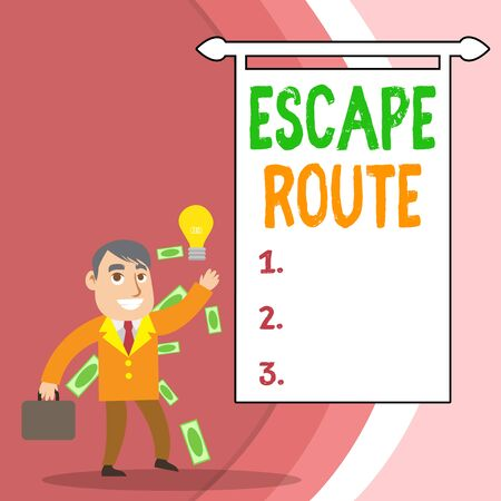 Handwriting text Escape Route. Conceptual photo a route by which a demonstrating may reach a place of safety Successful Businessman or Clerk Generating Good Idea or Finding Solution