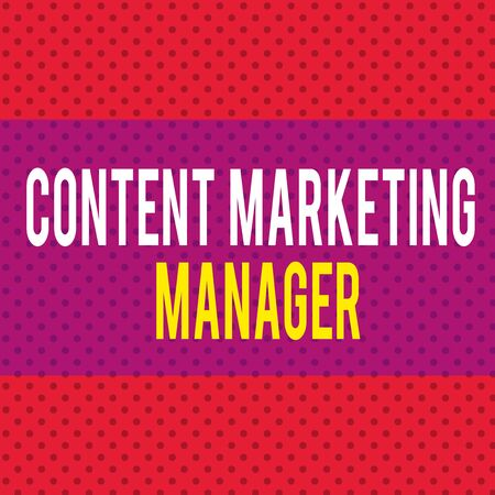 Word writing text Content Marketing Manager. Business photo showcasing who is responsible for writing posts and slogan Seamless Endless Infinite Polka Dot Pattern against Solid Red Background