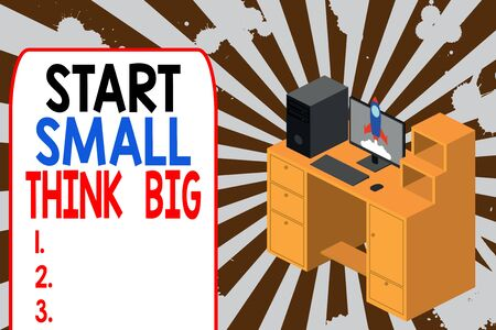 Text sign showing Start Small Think Big. Business photo text Initiate with few things have something great in mind Working desktop station drawers personal computer launching rocket clouds Stok Fotoğraf