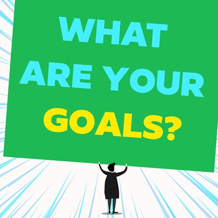 Handwriting text writing What Are Your Goals Question. Conceptual photo ask the Desired End Results to know the plans Back view standing short hair woman dress hands up holding blank rectangle