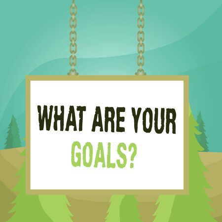 Word writing text What Are Your Goals Question. Business photo showcasing ask the Desired End Results to know the plans Whiteboard rectangle frame empty space attached surface chain blank panel