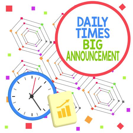 Handwriting text Daily Times Big Announcement. Conceptual photo bringing actions fast using website or tv Layout Wall Clock Notepad with Escalating Bar Graph and Arrow Pointing Up
