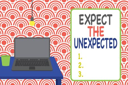 Conceptual hand writing showing Expect The Unexpected. Concept meaning Anything can Happen Consider all Possible Events Front view laptop lying on wooden desktop light bulb glass